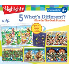 Highlights What's Different Glow in the Dark 60 Piece Jigsaw Puzzle (Set of 5)