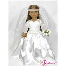 "Royal Bride Wedding Doll Dress for 18"" American Girl Doll"