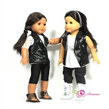 "Vegan Faux Leather Vest Fits 18"" American Girl Doll"