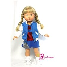 "<strong>Arianna</strong> Half Time Varsity Jacket Fits 18"" American Girl Doll"