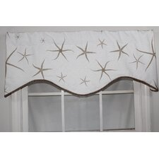 Sea Stars Shaped Cotton Rod Pocket Scalloped Curtain Valance