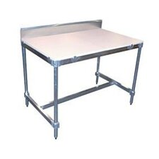 "34"" Aluminum I Frame Work Table with Back Splash and Poly Top"
