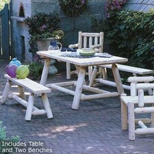 <strong>Rustic Natural Cedar Furniture</strong> Classic Farmer's Table and Bench Set