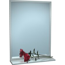 "Steel Inter-Lok Angle Frame Mirror with Shelf, 16"" x 24"""