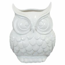 White Ceramic Owl Statue