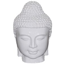 "11"" White Ceramic Buddha Head Statue"