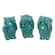 3 Piece Home and Garden Accents Owl Figurine