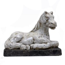 Ceramic Sitting Horse with Base