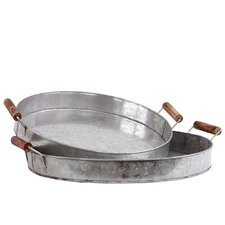 2 Piece Metal Tray Set