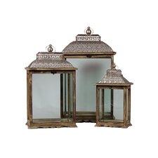Wooden/Metal Lantern Set of Three