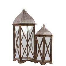 Wooden/Metal Lantern Set of Two