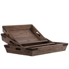 3 Piece Wooden Rectangular Tray Set
