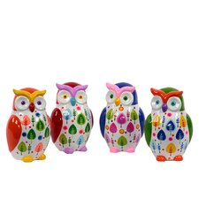 Ceramic Owl Money Bank Set of Four