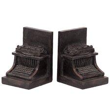 Resin Typewriter Bookend (Set of 2)