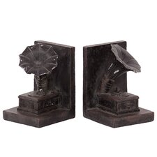 <strong>Urban Trends</strong> Resin Gramophone Book Ends (Set of 2)