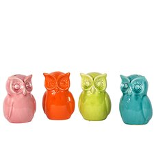 Ceramic Owl Bank Figurines (Set of 4)