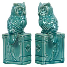 Ceramic Owl Bookend Gloss Turquoise (Set of 2)