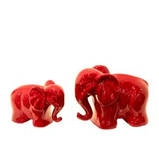 Ceramic Elephant 2 Piece Figurine Set