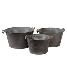 Metal Buckets with Rope Handles Set of Three Ribbed Zinc (Set of 3)