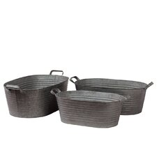 Metal Buckets with Metal Handles Set of Three Ribbed Zinc (Set of 3)