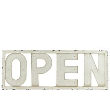 Metal Open Sign Wall Decor with LED Lights Distressed Antique White