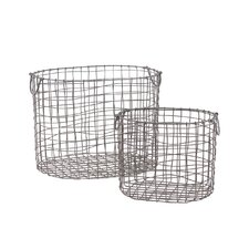 Metal Basket with Handles Mesh Design Set of Two Gray (Set of 2)