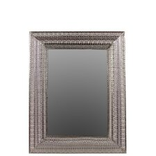 Metal Wall Mirror Pierced Polished Silver