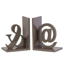 Wood @& Bookend Set of Two Coated Taupe Gray (Set of 2)