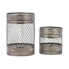 2 Piece Metal Candle Holder Set