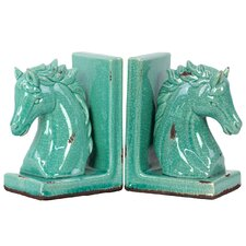 Stoneware Horse Bookend Set of Two Cyan (Set of 2)