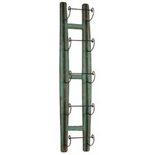 Wood Wine Rack Wall Mounted with 5 Metal Holders Moss Green
