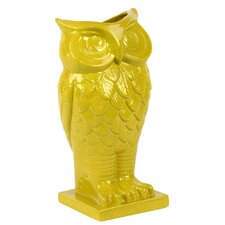 Ceramic Owl Vase with Base in Gloss Amber