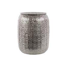 Metal Pierced Metal Stool Polished Silver