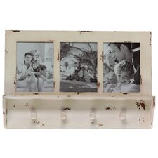 Wood Picture Frame with 3 Openings and 5 Hooks Distressed White