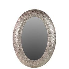 Metal Oval Wall Mirror Pierced Metal Silver