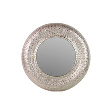 Metal Round Wall Mirror Pierced Metal Silver