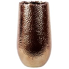 Ceramic Vase with Uneven Lip LG Dimpled Polished Copper