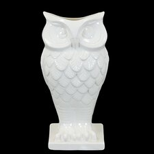 "13.5"" White Ceramic Owl Vase"
