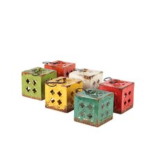 Ceramic Square Tea Light Lantern Assorted Set of Six