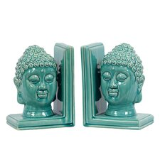 Ceramic Buddha Head Book Ends (Set of 2)