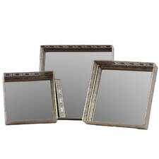 Mirror Square 3 Piece Serving Tray Set