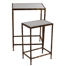 2 Piece Metal Table Set with Mirror Top