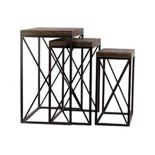 Wooden Metal Table Set of Three