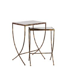 Metal Table with Mirror Top Set of Two (Set of 2)