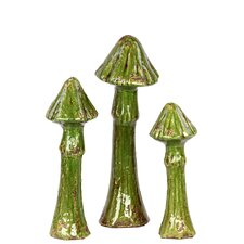 Ceramic Mushroom Statues (Set of 3)