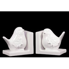 Ceramic Bird Bookends (Set of 2)