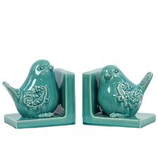 Ceramic Bird Bookend Gloss Turquoise (Set of 2)