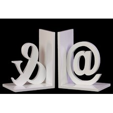 Wooden @ and Ampersand Bookend (Set of 2)
