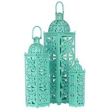 Metal Lanterns with Handle Set of Three Turquoise