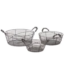 <strong>Urban Trends</strong> Metal Baskets (Set of 3)